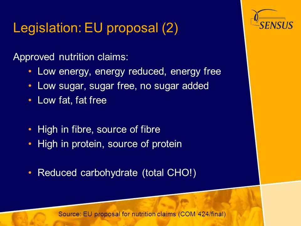 Legislation: EU proposal (2) Approved nutrition claims: Low energy, energy reduced, energy free Low sugar, sugar free, no sugar added Low fat, fat fre