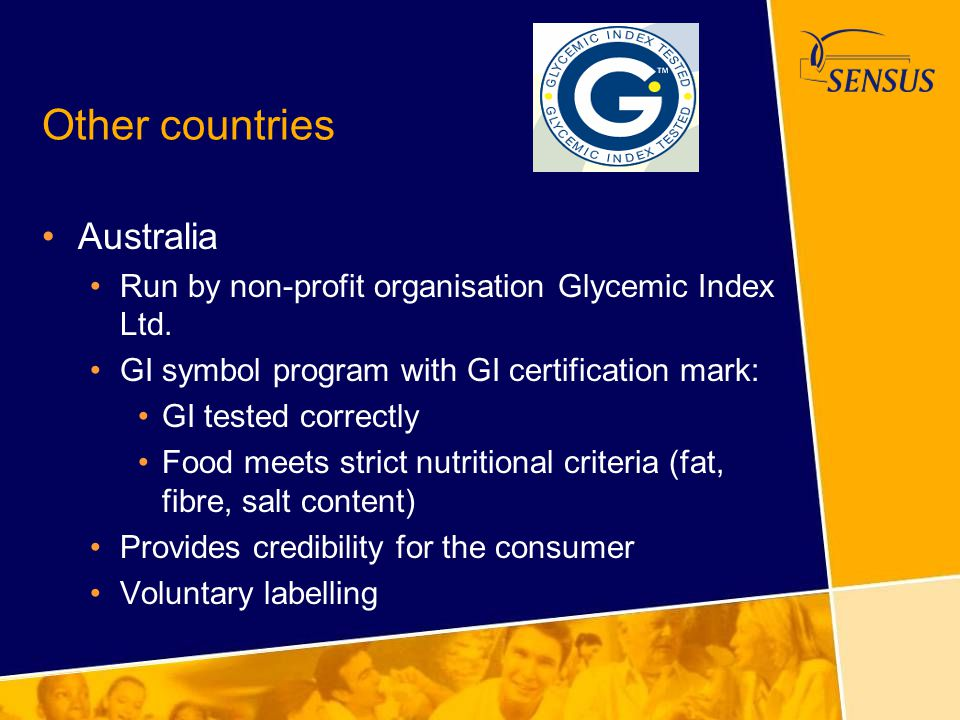 Other countries Australia Run by non-profit organisation Glycemic Index Ltd. GI symbol program with GI certification mark: GI tested correctly Food me