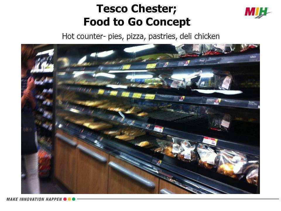 Hot counter- pies, pizza, pastries, deli chicken