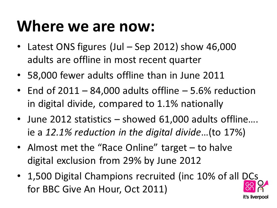 Where we are now: Latest ONS figures (Jul – Sep 2012) show 46,000 adults are offline in most recent quarter 58,000 fewer adults offline than in June 2