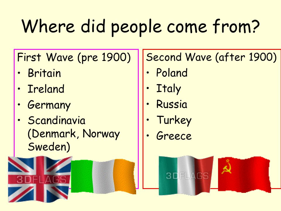 Where did people come from? First Wave (pre 1900) Britain Ireland Germany Scandinavia (Denmark, Norway Sweden) Second Wave (after 1900) Poland Italy R