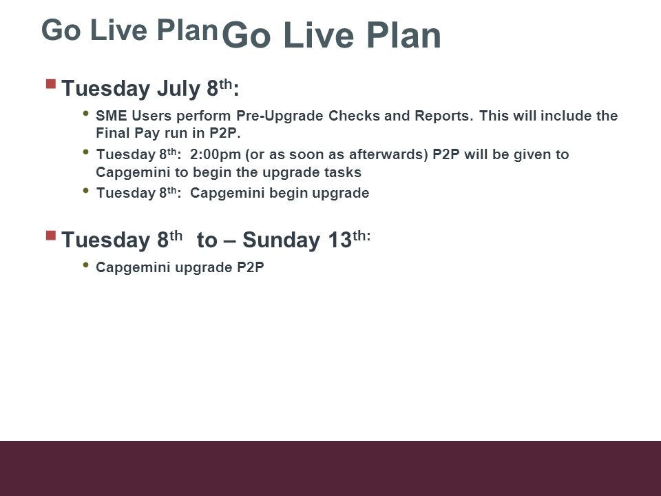 Go Live Plan  Tuesday July 8 th : SME Users perform Pre-Upgrade Checks and Reports.