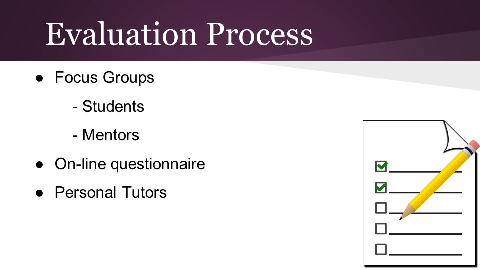 Evaluation Process ●Focus Groups - Students - Mentors ●On-line questionnaire ●Personal Tutors