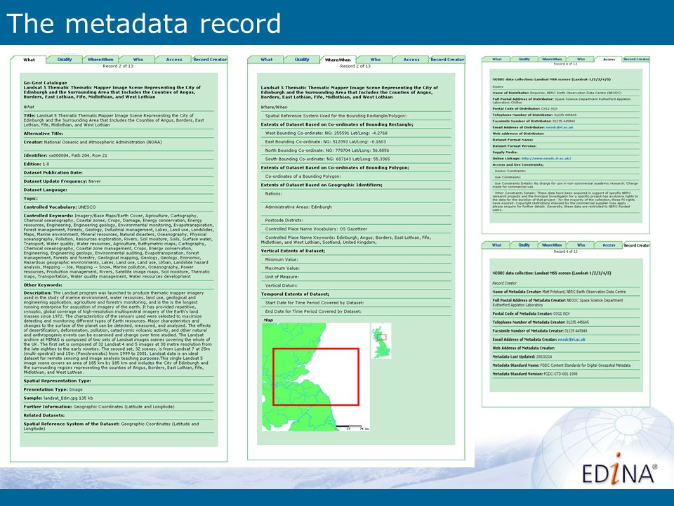 The metadata record