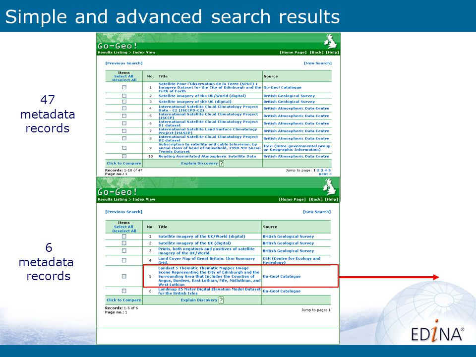 Simple and advanced search results 6 metadata records 47 metadata records