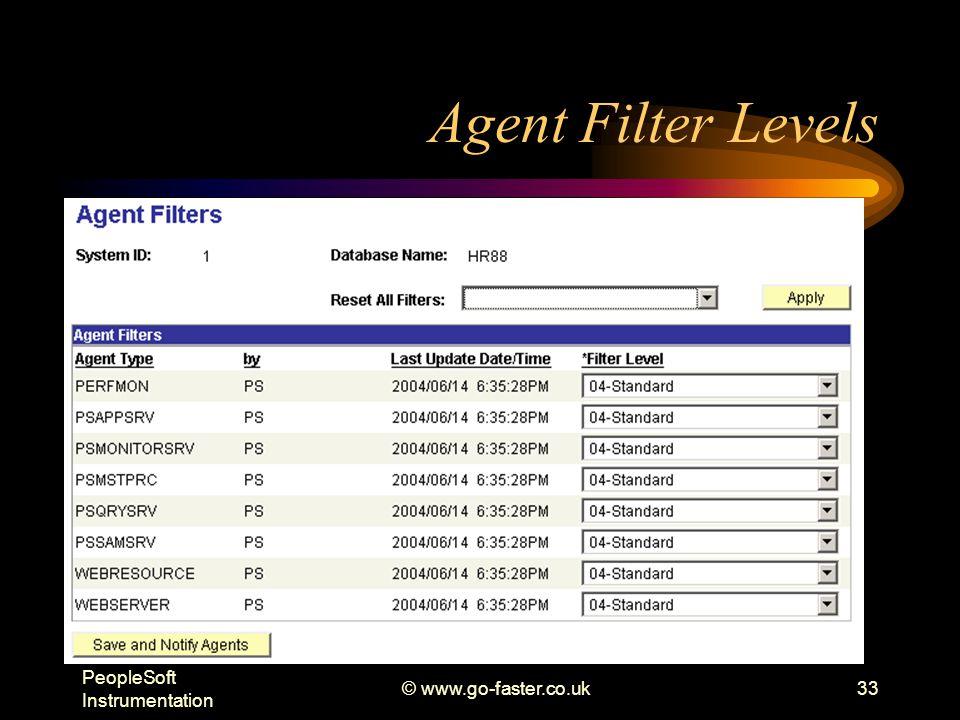 PeopleSoft Instrumentation © www.go-faster.co.uk33 Agent Filter Levels
