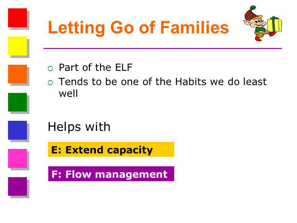 Letting Go of Families  Part of the ELF  Tends to be one of the Habits we do least well Helps with E: Extend capacity F: Flow management