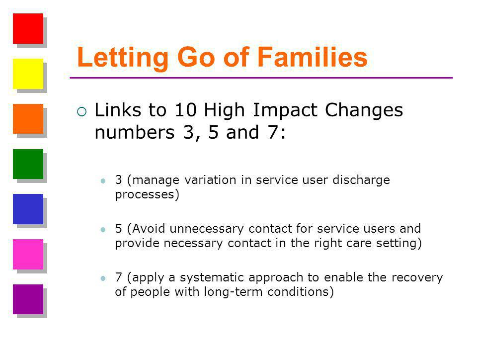Letting Go of Families  Links to 10 High Impact Changes numbers 3, 5 and 7: 3 (manage variation in service user discharge processes) 5 (Avoid unnecessary contact for service users and provide necessary contact in the right care setting) 7 (apply a systematic approach to enable the recovery of people with long-term conditions)