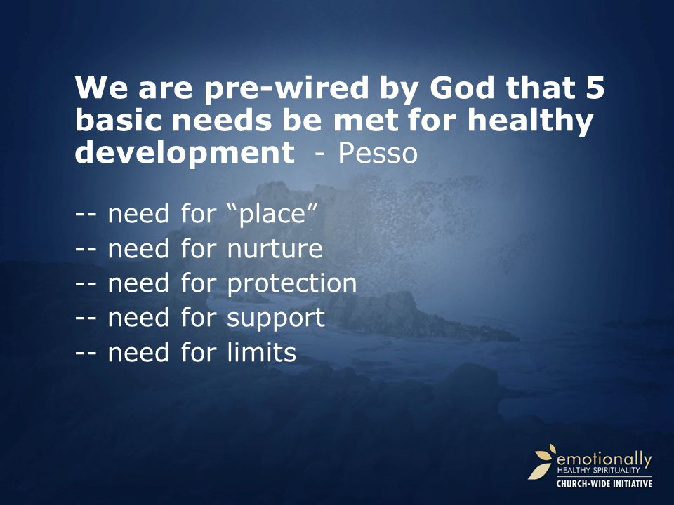 We are pre-wired by God that 5 basic needs be met for healthy development - Pesso -- need for place -- need for nurture -- need for protection -- need for support -- need for limits