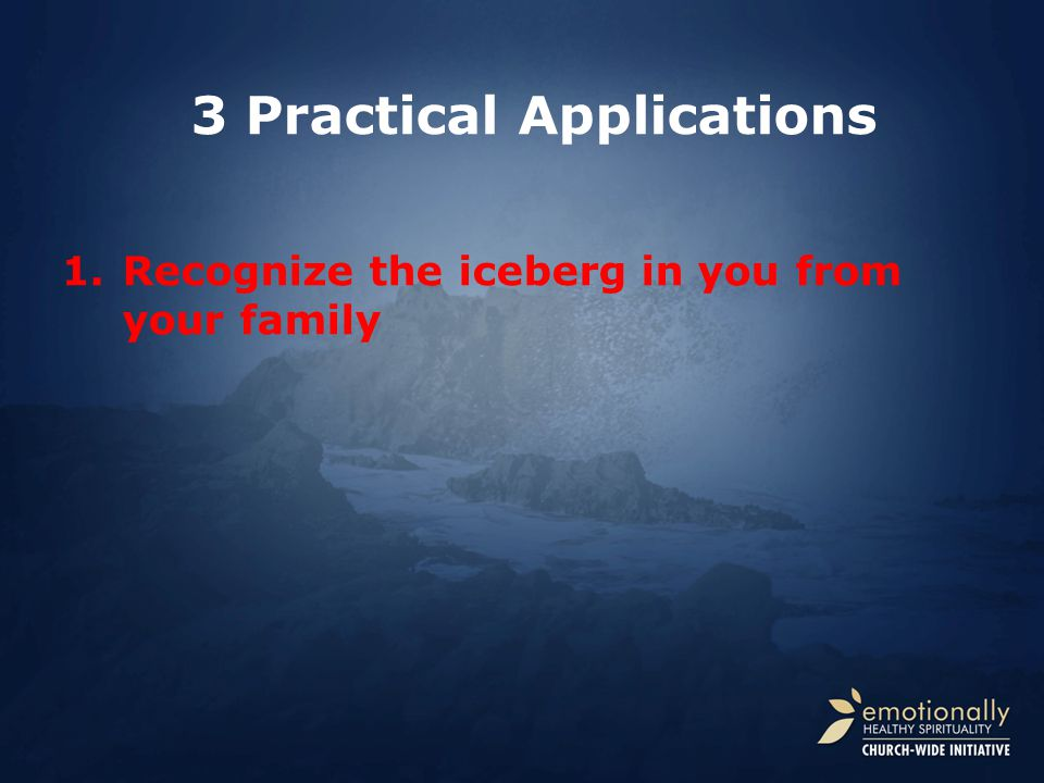 1.Recognize the iceberg in you from your family 3 Practical Applications