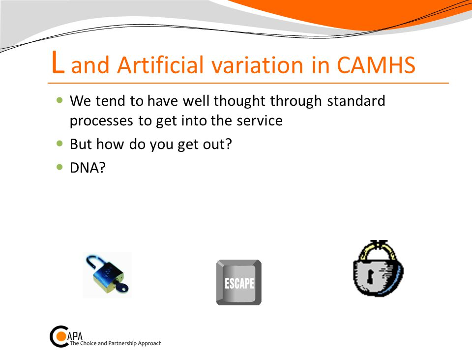 L and Artificial variation in CAMHS We tend to have well thought through standard processes to get into the service But how do you get out.