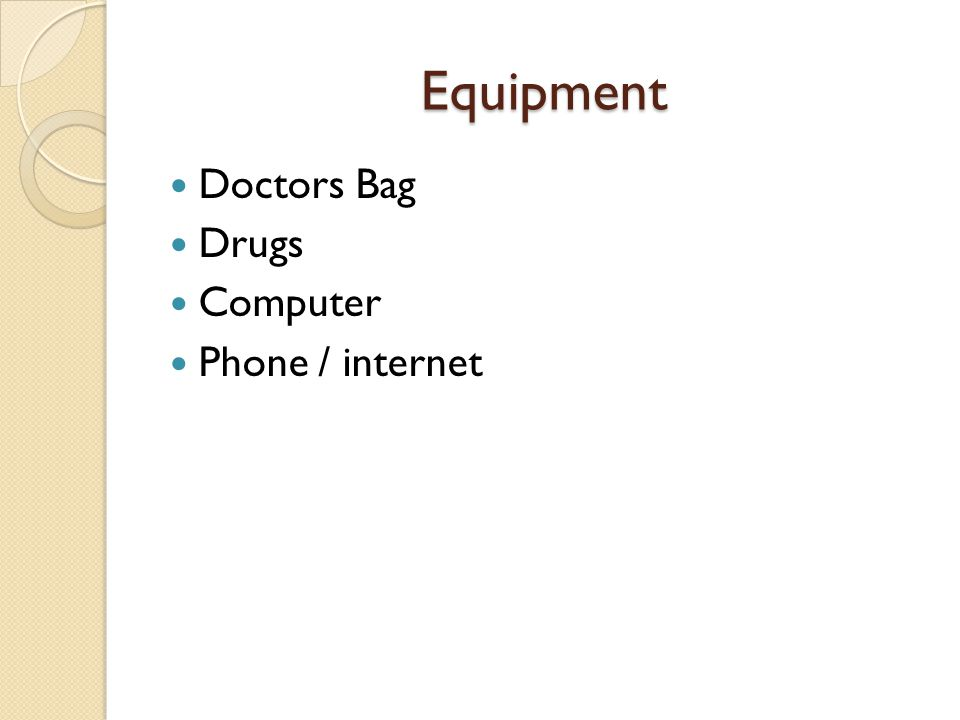 Equipment Doctors Bag Drugs Computer Phone / internet