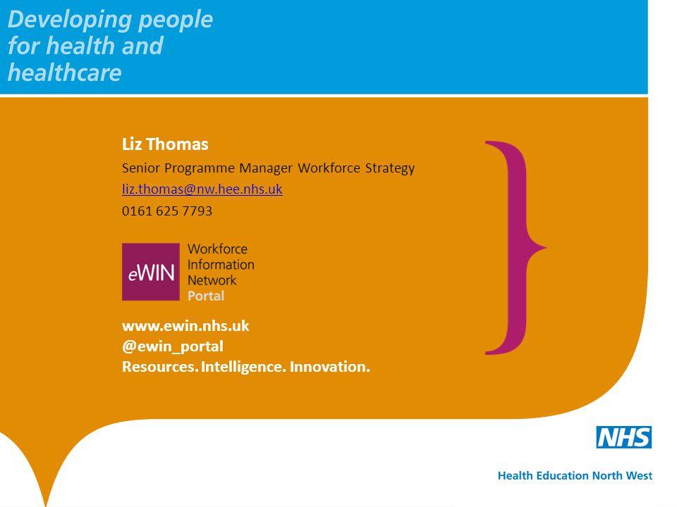 Liz Thomas Senior Programme Manager Workforce Strategy liz.thomas@nw.hee.nhs.uk 0161 625 7793 www.ewin.nhs.uk @ewin_portal Resources. Intelligence. In
