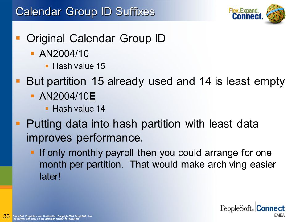 PeopleSoft Proprietary and Confidential, Copyright 2004 PeopleSoft, Inc. For Internal Use Only, Do not distribute outside of PeopleSoft. 36 Calendar G