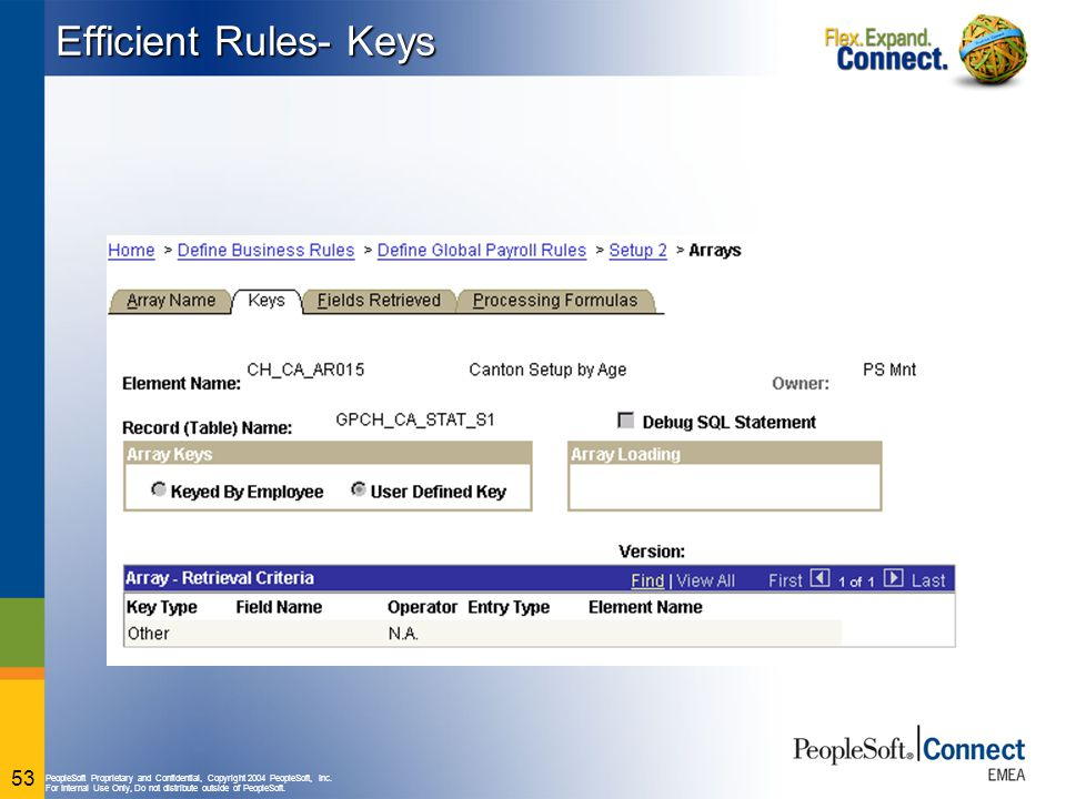 PeopleSoft Proprietary and Confidential, Copyright 2004 PeopleSoft, Inc. For Internal Use Only, Do not distribute outside of PeopleSoft. 53 Efficient