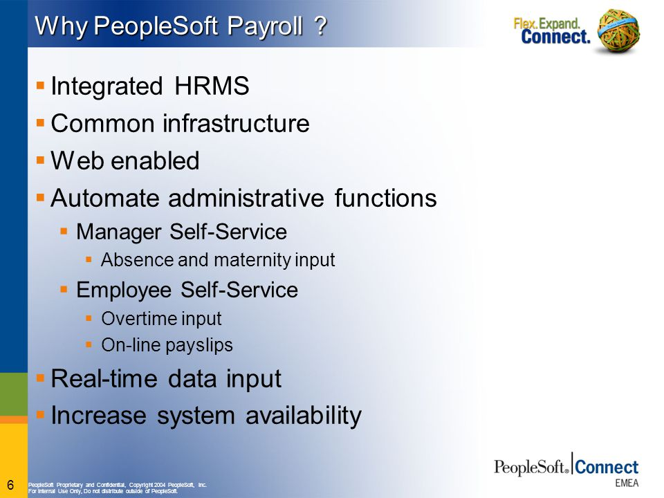 PeopleSoft Proprietary and Confidential, Copyright 2004 PeopleSoft, Inc. For Internal Use Only, Do not distribute outside of PeopleSoft. 6 Why PeopleS