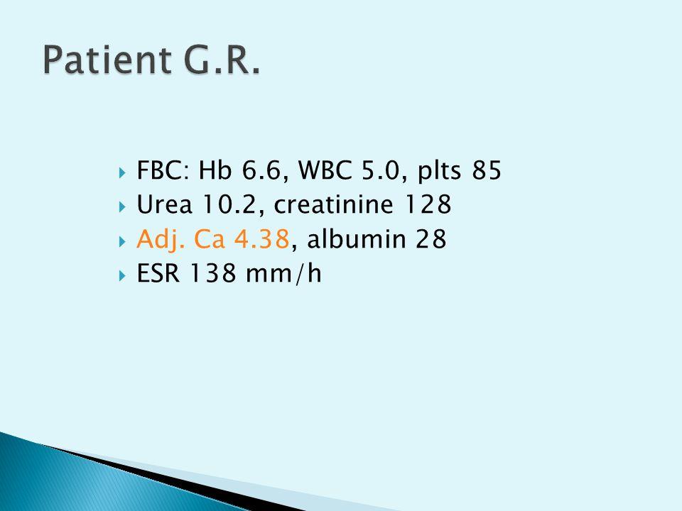  FBC: Hb 6.6, WBC 5.0, plts 85  Urea 10.2, creatinine 128  Adj. Ca 4.38, albumin 28  ESR 138 mm/h