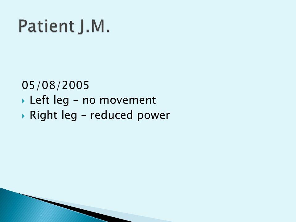 05/08/2005  Left leg – no movement  Right leg – reduced power
