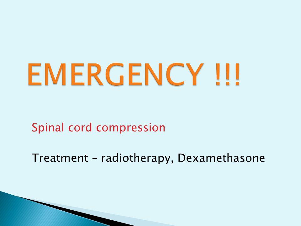 Spinal cord compression Treatment – radiotherapy, Dexamethasone