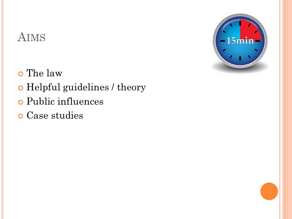 A IMS The law Helpful guidelines / theory Public influences Case studies