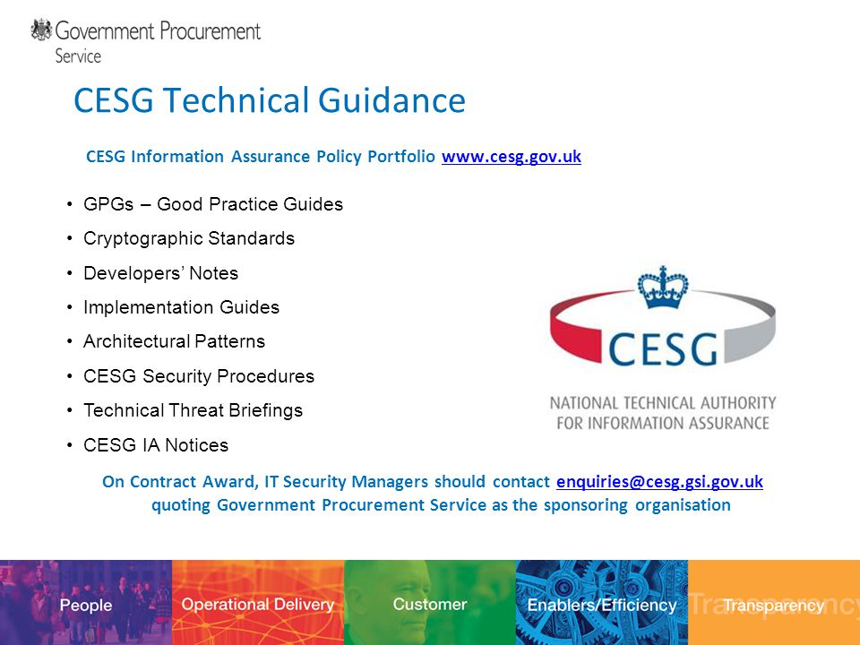 12/10/201420 CESG Technical Guidance CESG Information Assurance Policy Portfolio www.cesg.gov.ukwww.cesg.gov.uk GPGs – Good Practice Guides Cryptograp