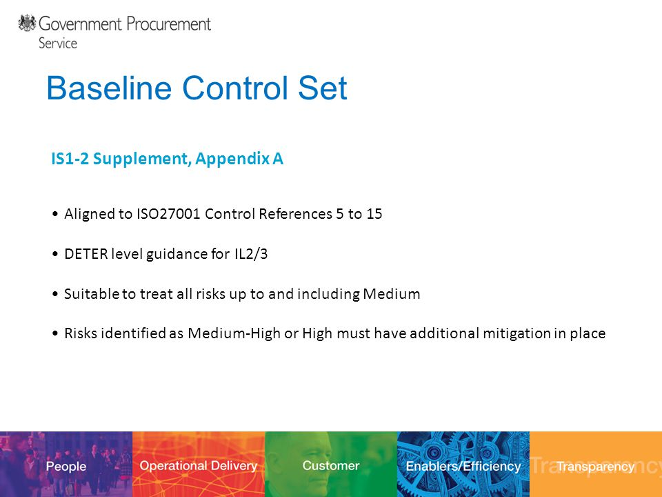12/10/201425 Baseline Control Set IS1-2 Supplement, Appendix A Aligned to ISO27001 Control References 5 to 15 DETER level guidance for IL2/3 Suitable