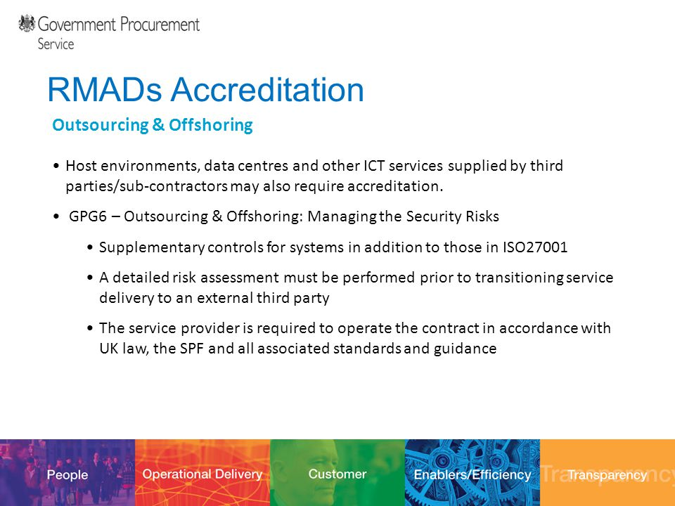 12/10/201430 RMADs Accreditation Outsourcing & Offshoring Host environments, data centres and other ICT services supplied by third parties/sub-contrac
