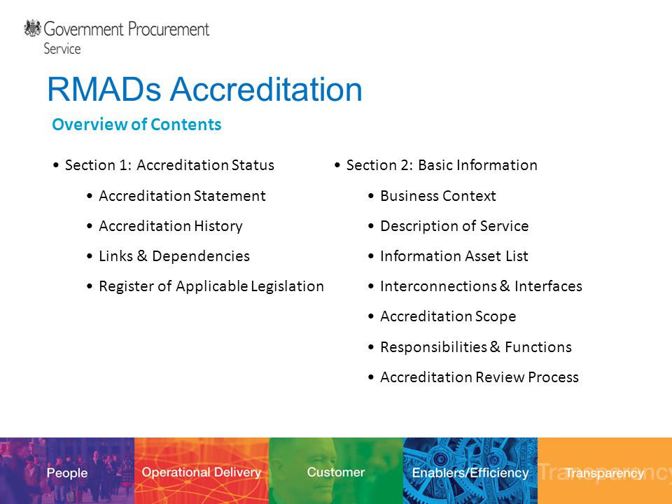 12/10/201431 RMADs Accreditation Overview of Contents Section 1: Accreditation Status Accreditation Statement Accreditation History Links & Dependenci