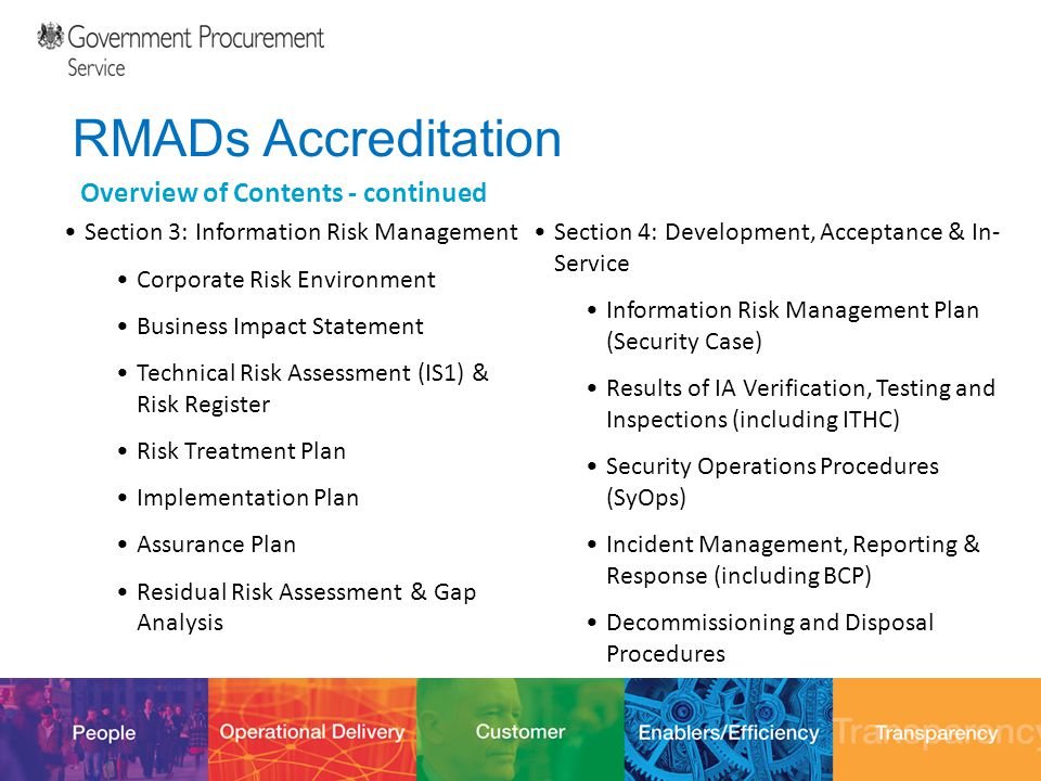 12/10/201432 RMADs Accreditation Overview of Contents - continued Section 3: Information Risk Management Corporate Risk Environment Business Impact St