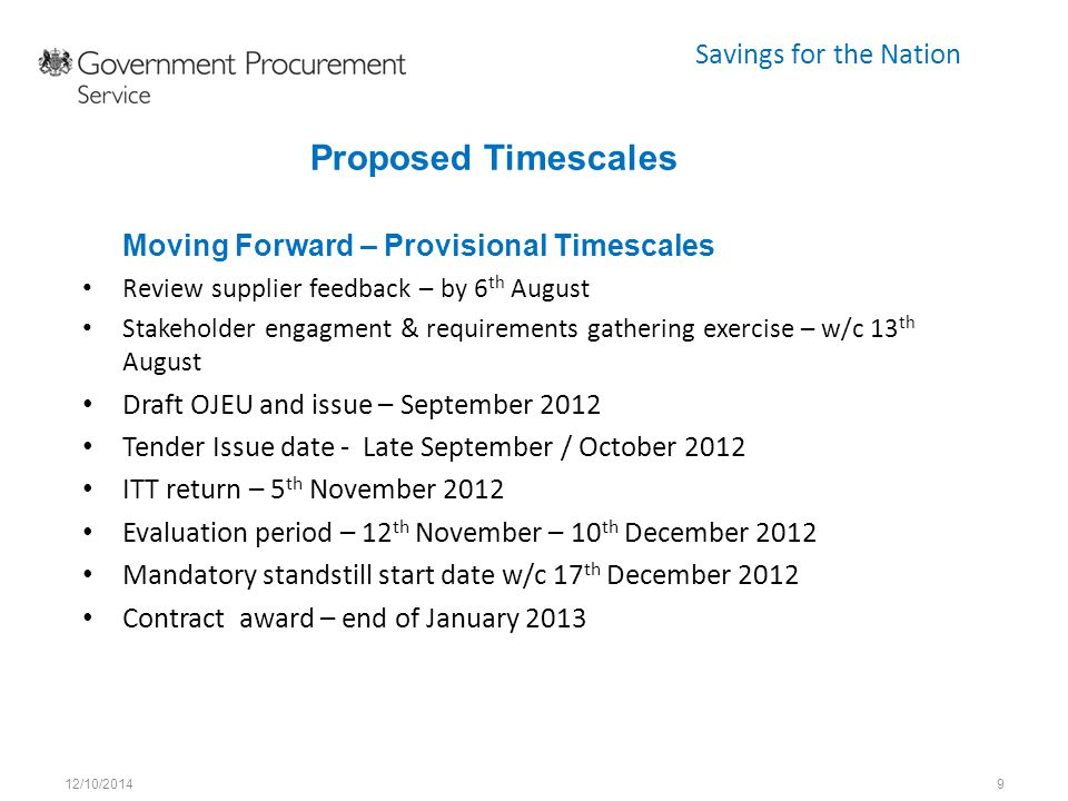 Savings for the Nation Moving Forward – Provisional Timescales Review supplier feedback – by 6 th August Stakeholder engagment & requirements gatherin