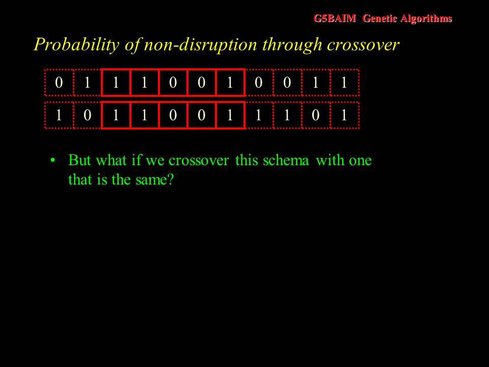 G5BAIM Genetic Algorithms Probability of non-disruption through crossover l(s) = 4 and n = 11 Assume P C = 1 The probability of the schema being disru