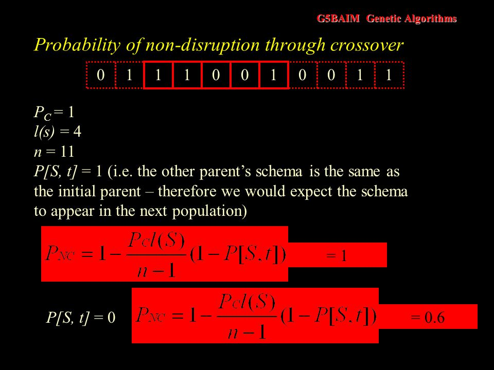 G5BAIM Genetic Algorithms Probability of non-disruption through crossover The probability that the schema in the other parent is an instance of a diff