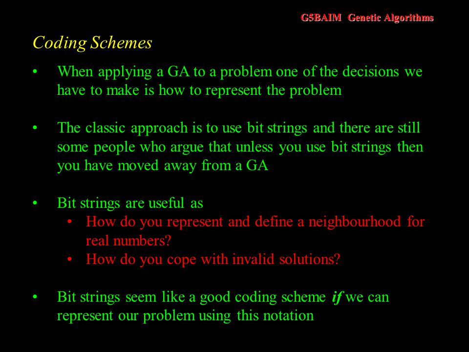 G5BAIM Genetic Algorithms Schema Theory - Try it