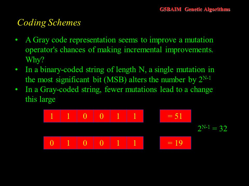 G5BAIM Genetic Algorithms Coding Schemes Hollstien, 1971 investigated the use of GAs for optimizing functions of two variables and claimed that a Gray
