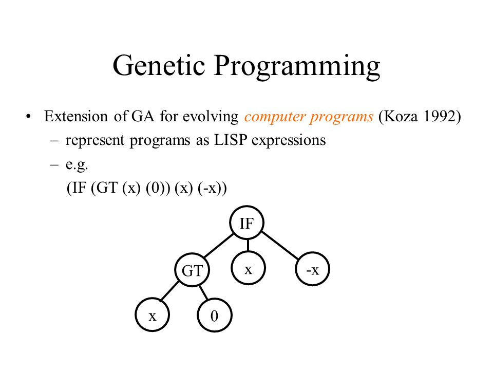 Genetic Programming Extension of GA for evolving computer programs (Koza 1992) –represent programs as LISP expressions –e.g.