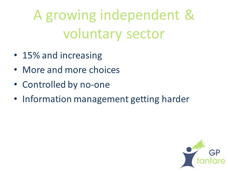 Ever-increasing specialisation Specialities and sub-specialities Niche services