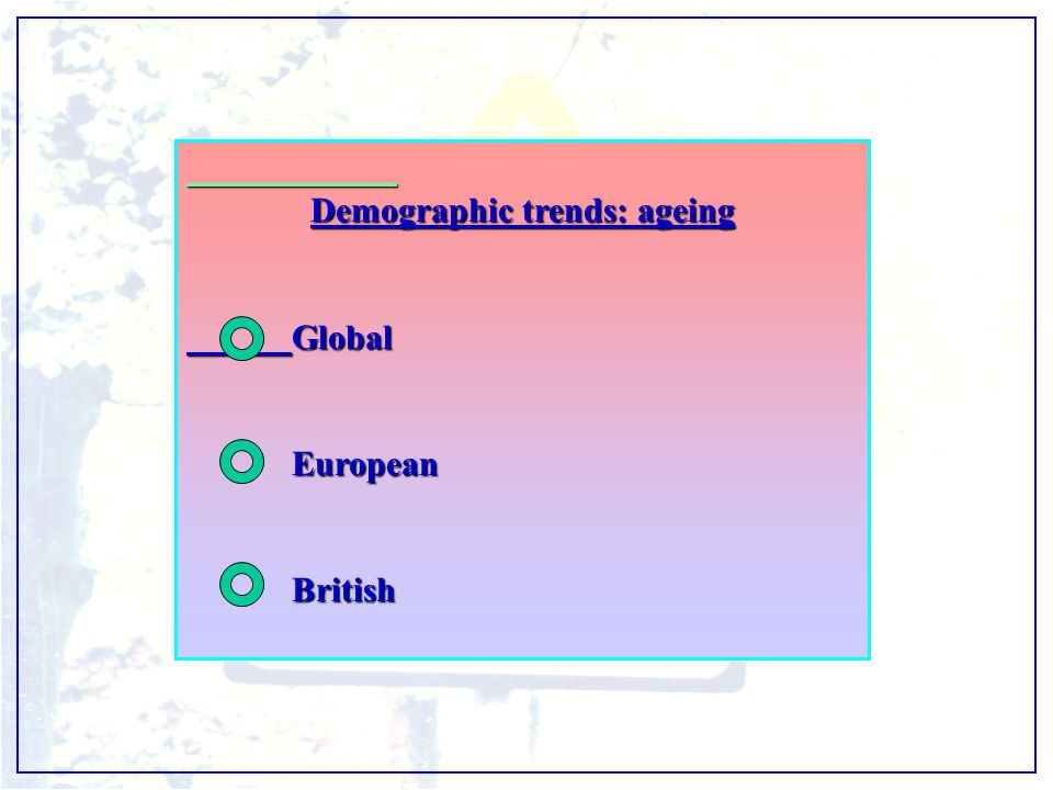 Demographic trends: ageing GlobalEuropeanBritish