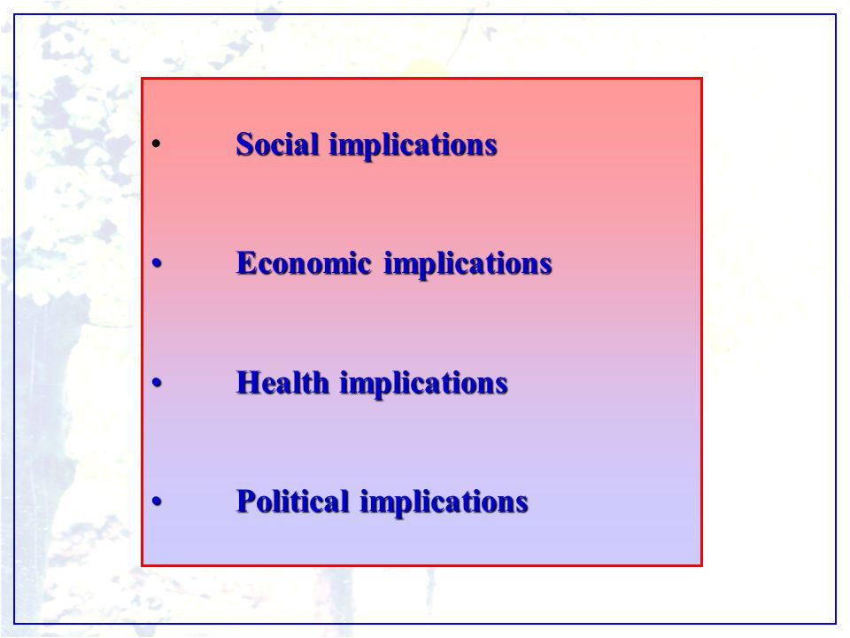 Social implicationsSocial implications Economic implicationsEconomic implications Health implicationsHealth implications Political implicationsPolitic