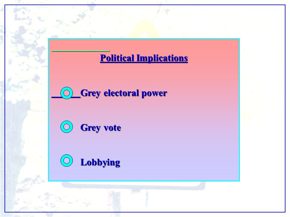 Political Implications Grey electoral power Grey vote Lobbying