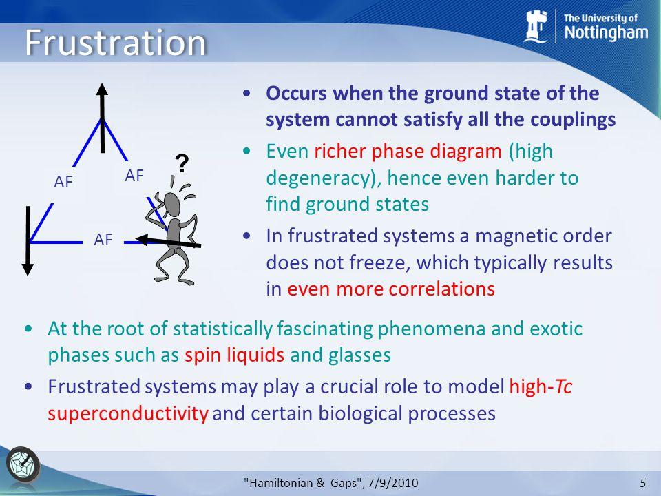 5 Hamiltonian & Gaps , 7/9/2010 Frustration AF .