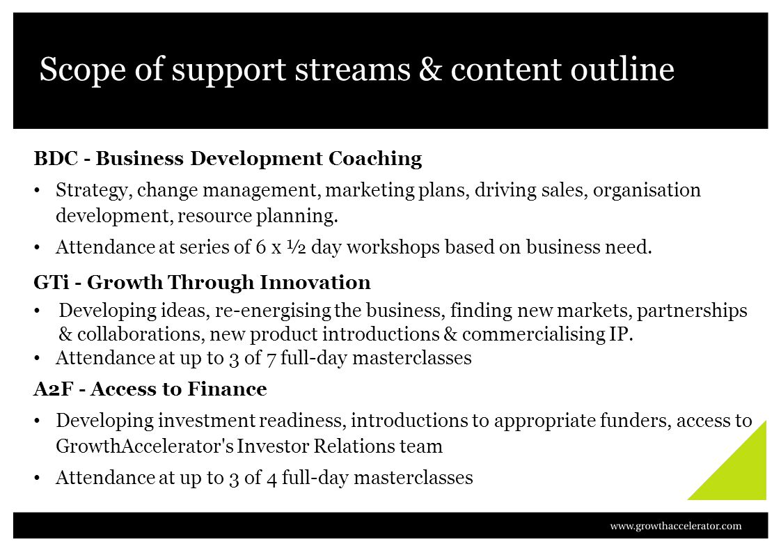 Scope of support streams & content outline BDC - Business Development Coaching Strategy, change management, marketing plans, driving sales, organisation development, resource planning.