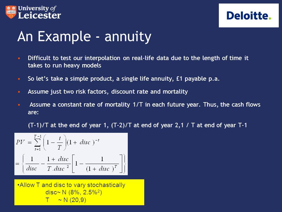 An Example - annuity Difficult to test our interpolation on real-life data due to the length of time it takes to run heavy models So let's take a simp