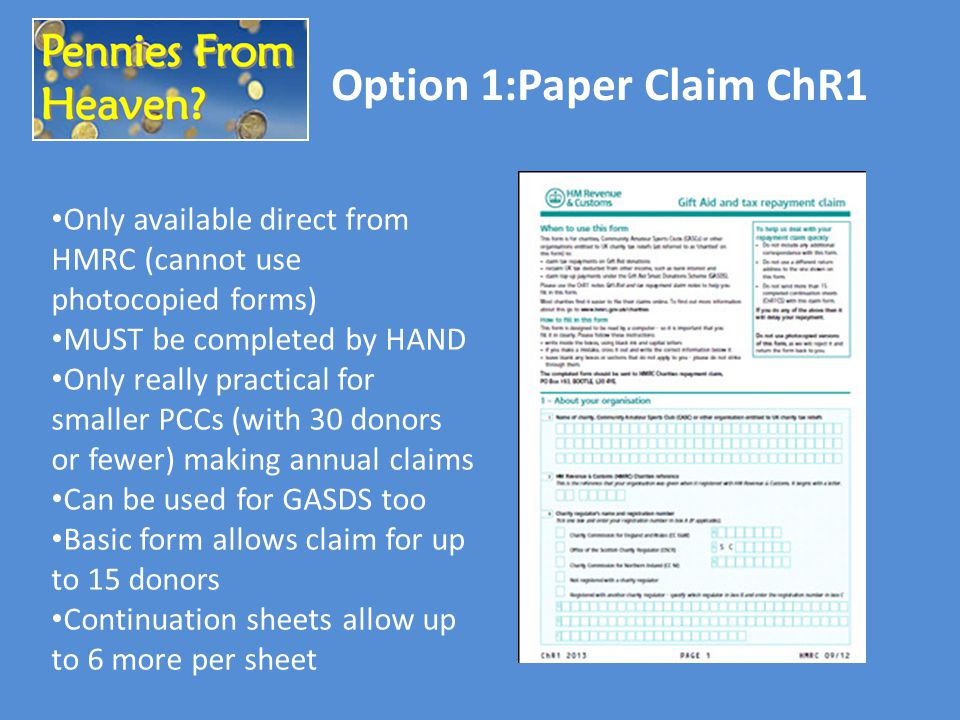 Option 1:Paper Claim ChR1 Only available direct from HMRC (cannot use photocopied forms) MUST be completed by HAND Only really practical for smaller P