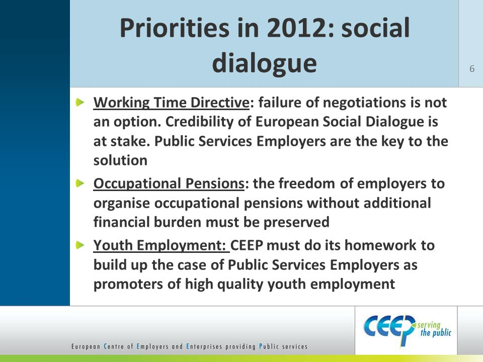 Priorities in 2012: social dialogue Working Time Directive: failure of negotiations is not an option.