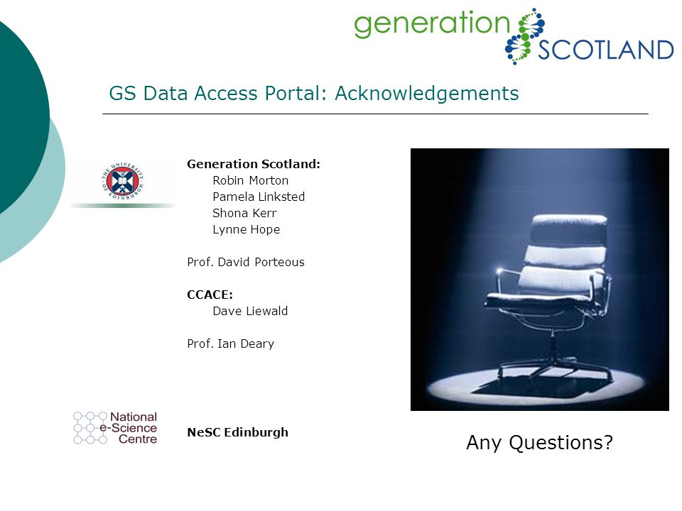 GS Data Access Portal: Acknowledgements Generation Scotland: Robin Morton Pamela Linksted Shona Kerr Lynne Hope Prof. David Porteous CCACE: Dave Liewa