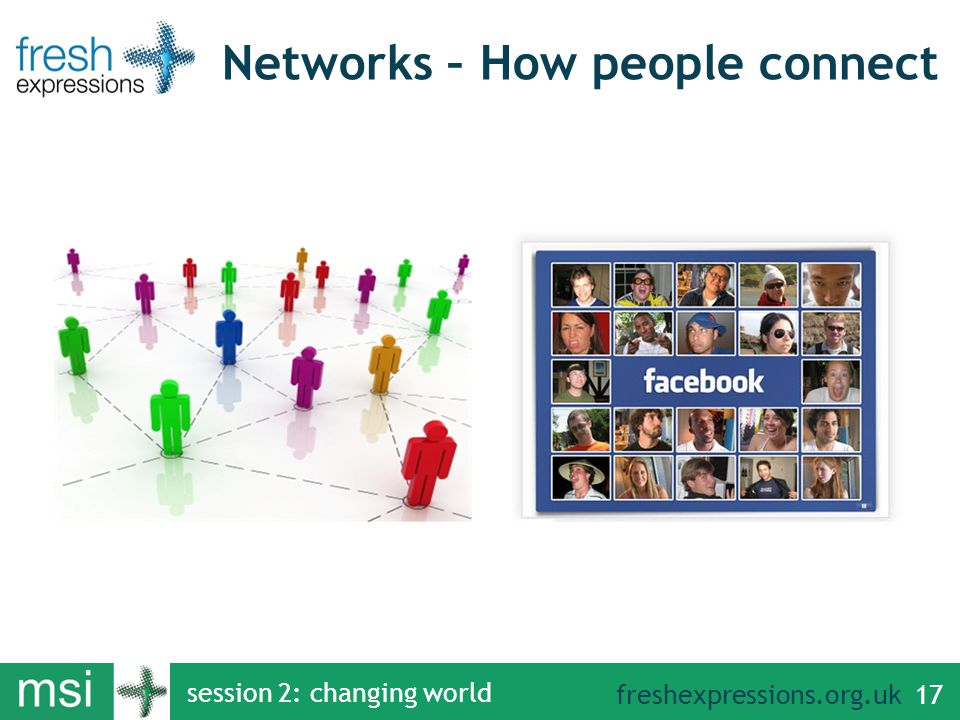 freshexpressions.org.uk session 2: changing world 17 Networks – How people connect