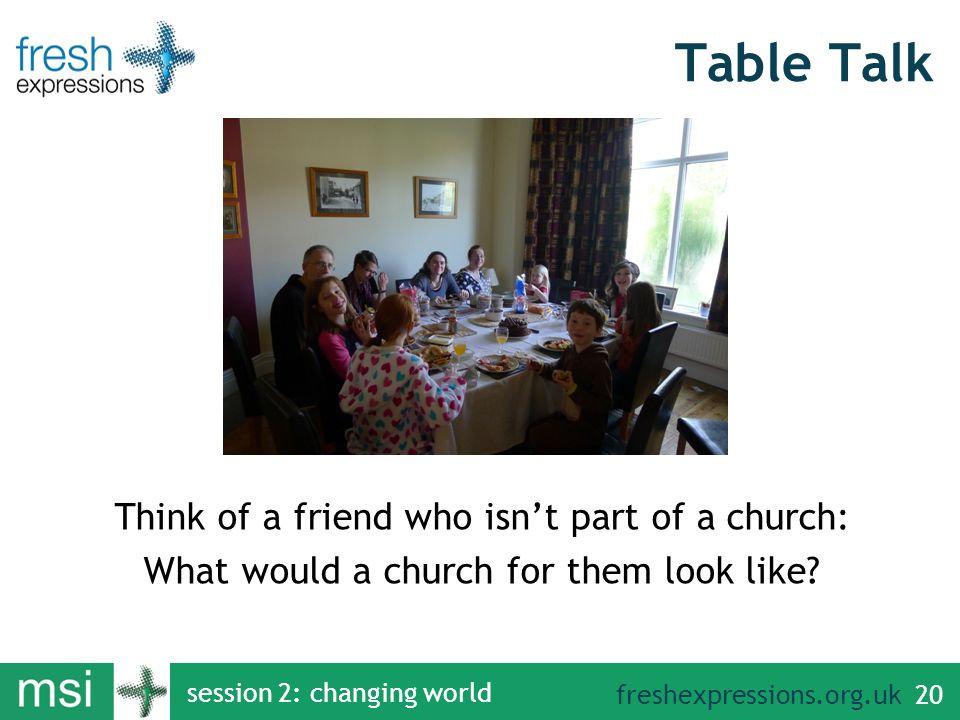 freshexpressions.org.uk session 2: changing world 20 Table Talk Think of a friend who isn't part of a church: What would a church for them look like