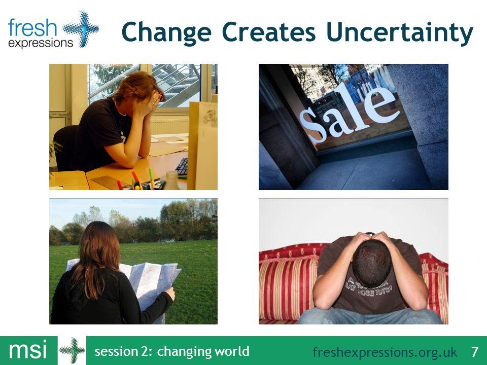 freshexpressions.org.uk session 2: changing world 7 Change Creates Uncertainty