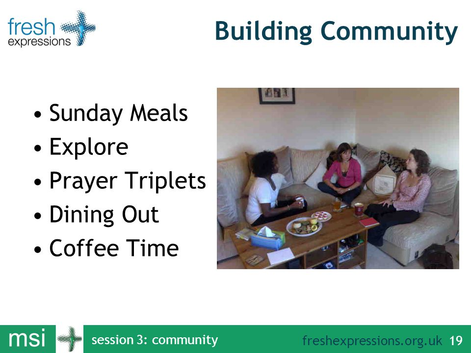 freshexpressions.org.uk Building Community Sunday Meals Explore Prayer Triplets Dining Out Coffee Time session 3: community 19