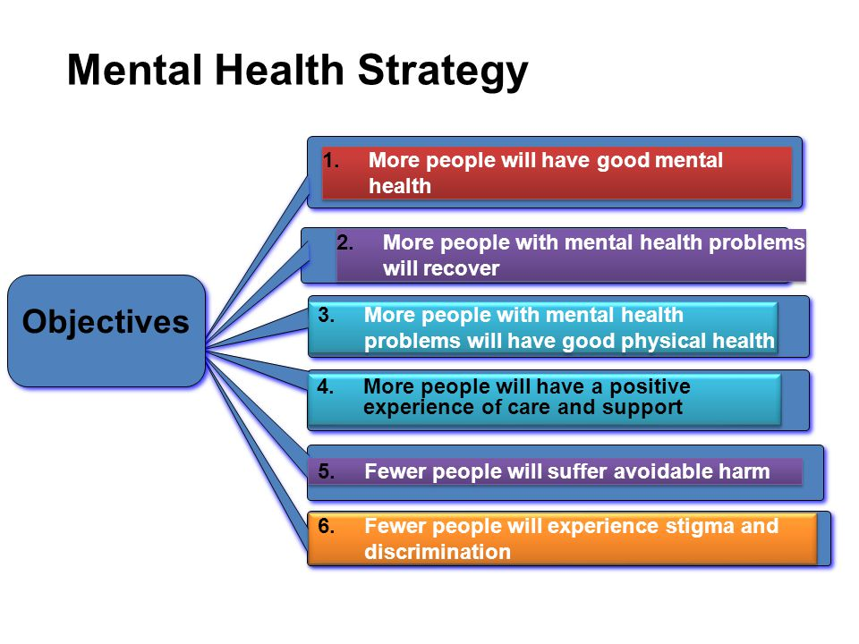 2.More people with mental health problems will recover Objectives 1.More people will have good mental health 3.More people with mental health problems will have good physical health 4.More people will have a positive experience of care and support 5.Fewer people will suffer avoidable harm 6.Fewer people will experience stigma and discrimination Mental Health Strategy